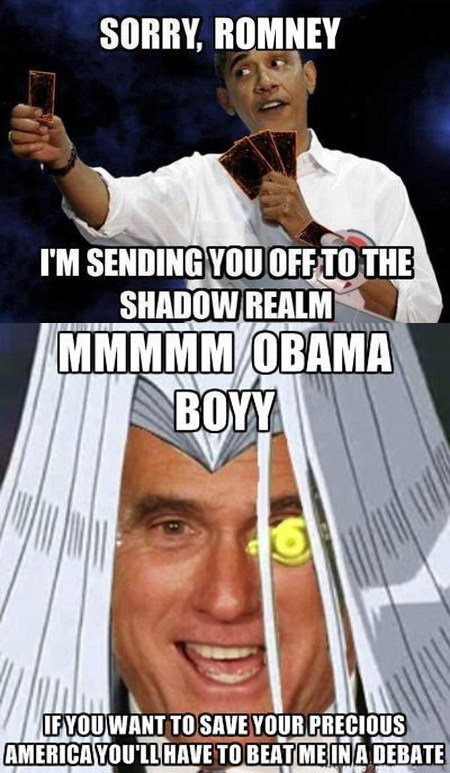 barack obama Mitt Romney Yu Gi Oh shadow realm cards kaiba debate categoryimage - 6653218304