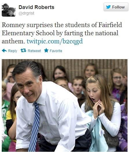 Mitt Romney elementary school Photo farting national anthem impressed