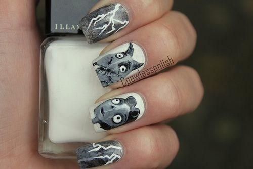 nails manicure Frankenweenie tim burton characters fashion style - 6653369856