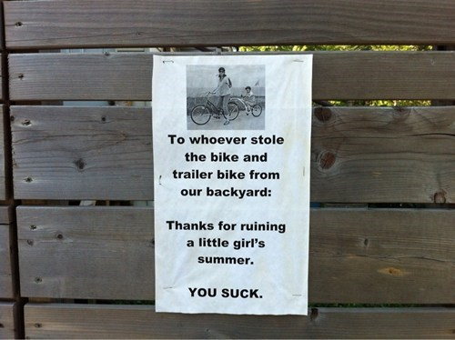 bike thief bike theft sign - 6653727488
