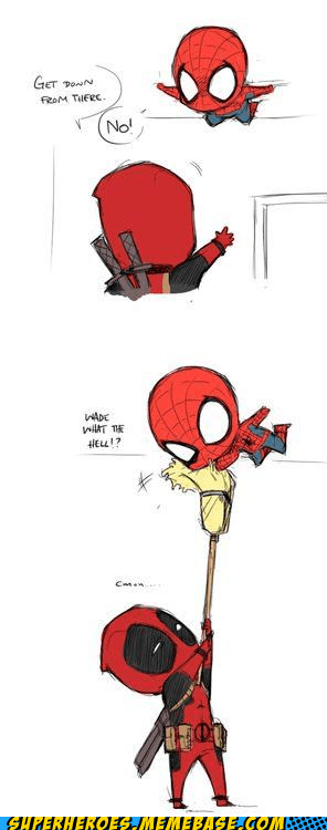 Spider-Man deadpool broom cute art - 6653832704