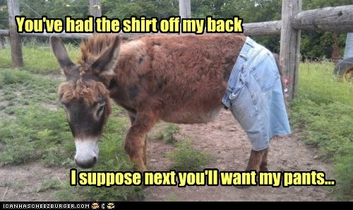 You've had the shirt off my back I suppose next you'll want my pants...