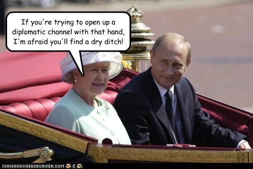innuendo Queen Elizabeth II Vladimir Putin channel dry diplomatic relations