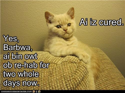 Yes, Barbwa, ai bin owt ob re-hab for two whole days now. Ai iz cured.