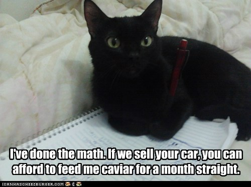I've done the math. If we sell your car, you can afford to feed me caviar for a month straight.