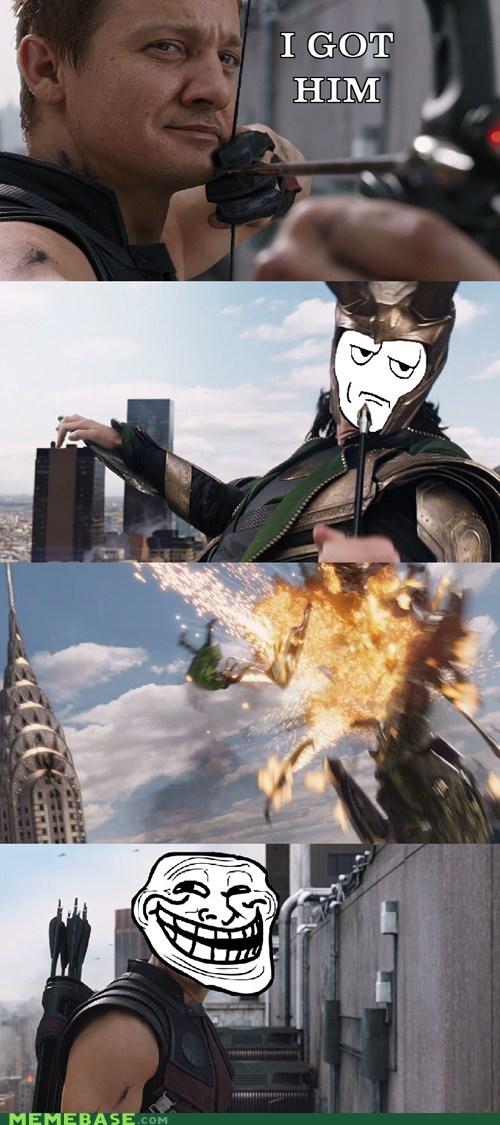 hawkeye,explosion,loki,avengers,Random Heroics