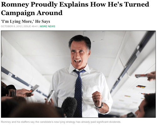 Mitt Romney lying the onion more campaign success