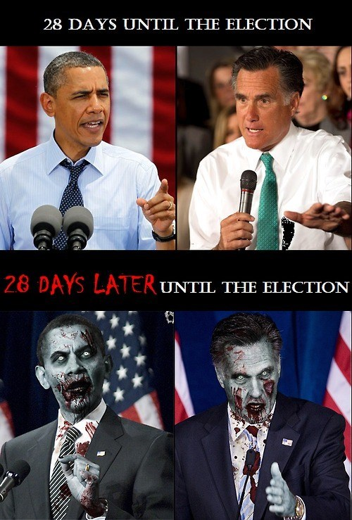 barack obama,Mitt Romney,28 days later,zombie,infected,election