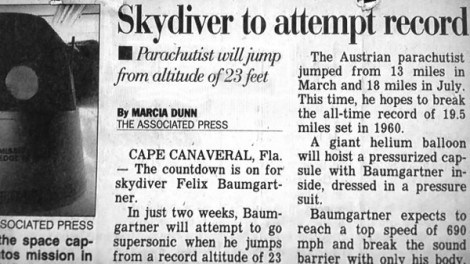 news,typo,stratos jump,newspaper