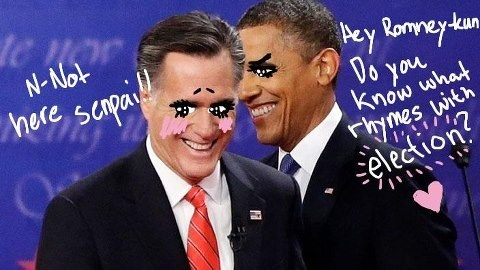 barack obama,Mitt Romney,slash fiction,election,flirting,embarrassed,anime