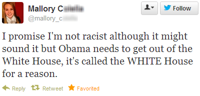 obama White house twitter racist tweet racist tweet racism