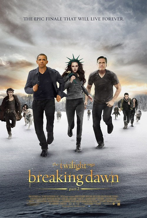 barack obama Mitt Romney twilight breaking dawn poster Statue of Liberty kristen stewart categoryimage - 6656767488