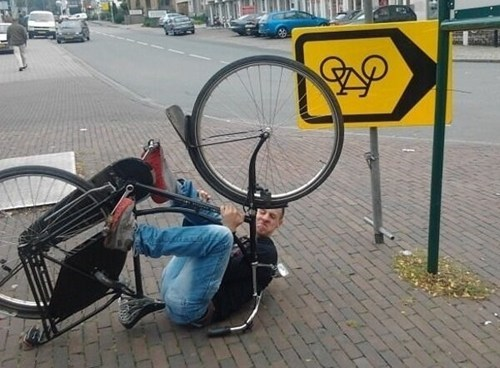 sign bike literal upside down