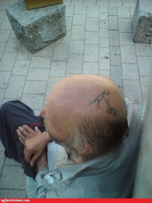 lawnmower scalp tattoos balding