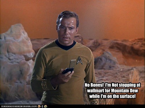 annoyed,Captain Kirk,bones,McCoy,Star Trek,Walmart,William Shatner,Shatnerday,communicator