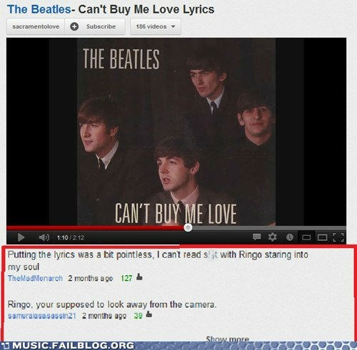 the Beatles cant-buy-me-love youtube comments ringo starr - 6657383424