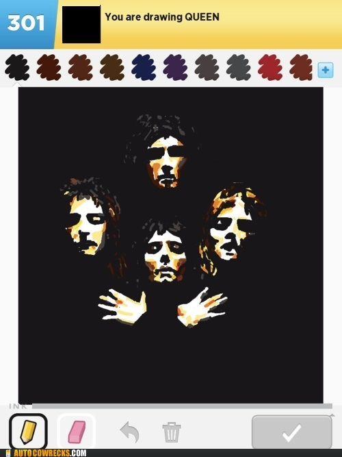 queen,draw something,album cover,showing off