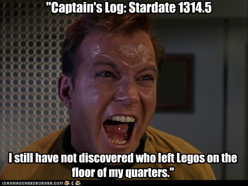 stepped on a lego,Captain Kirk,captains-log,screaming,Star Trek,William Shatner,Shatnerday