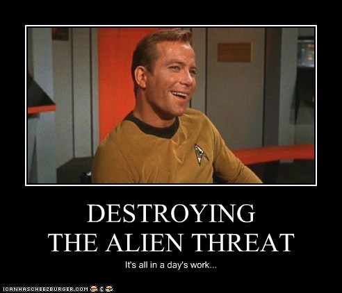 Captain Kirk,work,confident,alien,Star Trek,threat,William Shatner,Shatnerday
