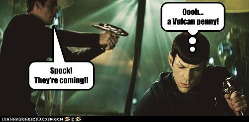 starfleet Captain Kirk penny distracted Spock Zachary Quinto Star Trek chris pine - 6658374912
