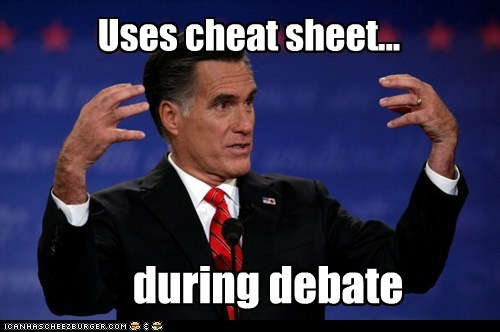 Uses cheat sheet... during debate