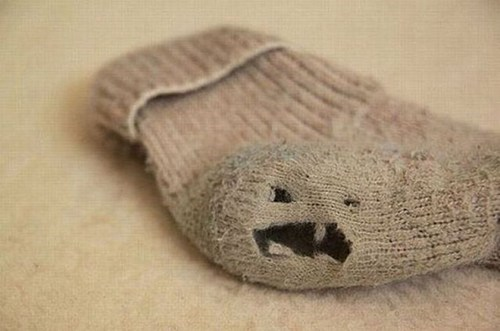 sock,hole,scary face