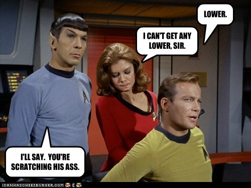 Captain Kirk scratching pun Spock Leonard Nimoy ass William Shatner Shatnerday lower - 6659192576