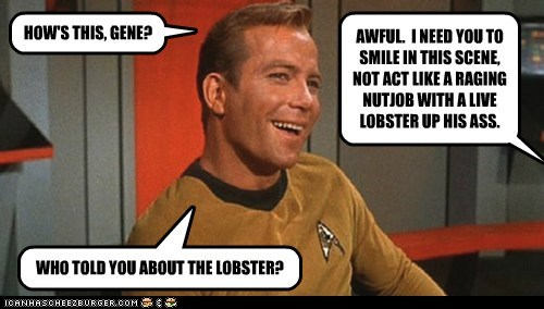 acting lobster Captain Kirk gene roddenberry Star Trek William Shatner Shatnerday smile - 6659210752