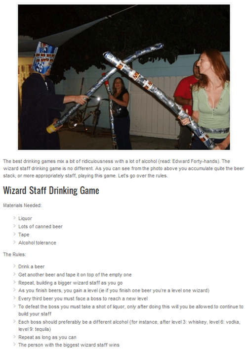 drinking game of the week,wizard staff,beer cans