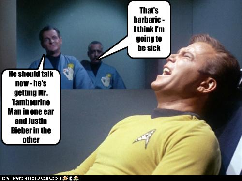 Captain Kirk,Music,star wars,screaming,barbaric,mr. tambourine man,torture,William Shatner,sick,Shatnerday,justin bieber