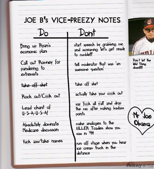 joe biden,vice-presidential debate,notes,dos and donts