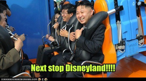 kim jong-un,disneyland,happy,fun,rollercoaster