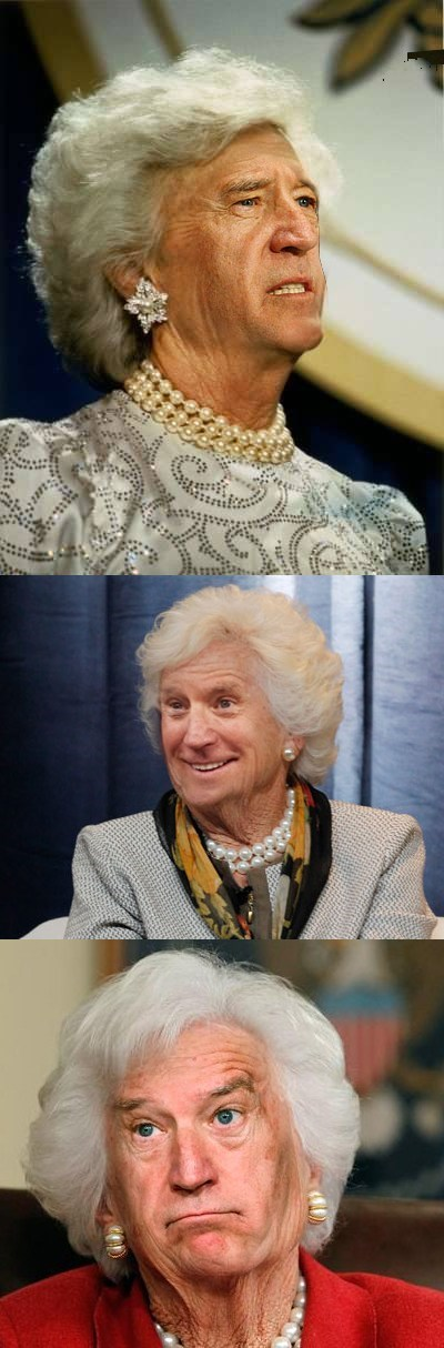 joe biden,Barbara Bush,face swap,same person,photoshop