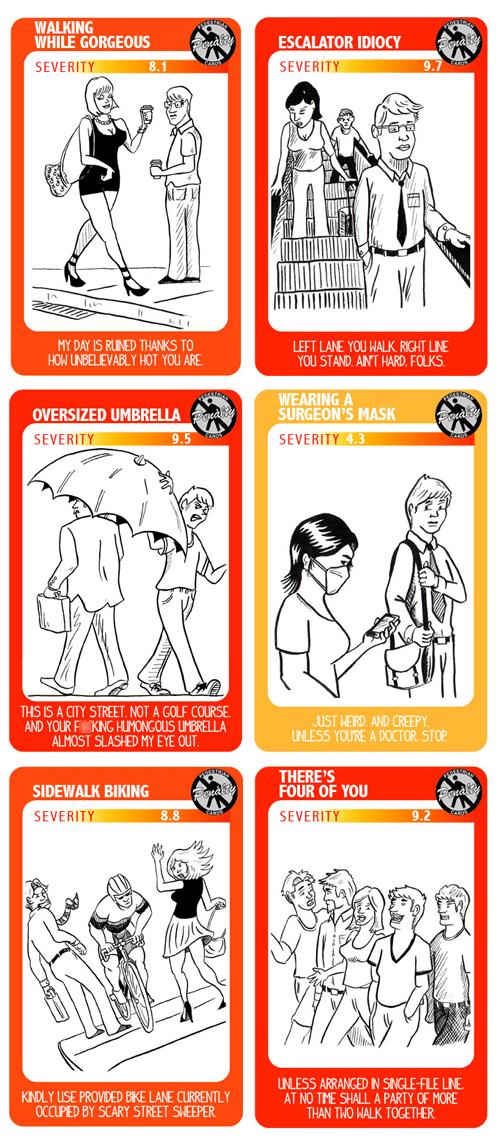 pedestrian penalty cards surgeons-mask umbrella bicycle cyclist sidewalk Pedestrian - 6659853056