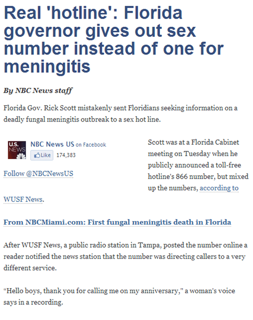 mistakes were made,florida,meningitis,sex hotline