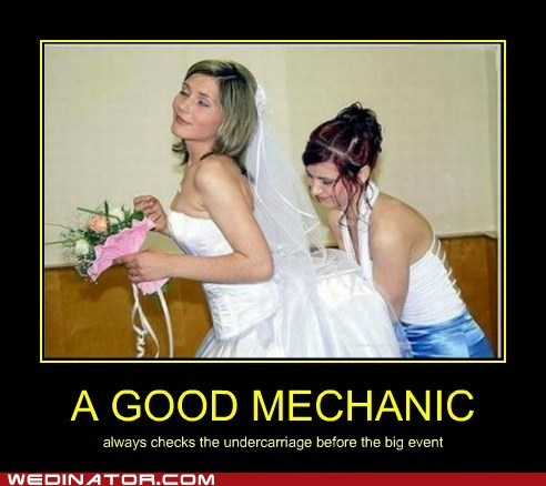 mechanic bride bridesmaid helper underskirt bustle