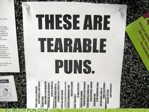 tearable,tear,terrible,puns,homophone,double meaning,literalism,classic