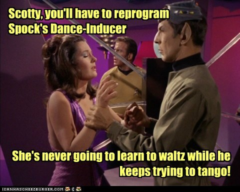 dancing tango reprogram Spock Leonard Nimoy Star Trek William Shatner waltz Shatnerday - 6661220352