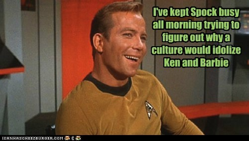 Captain Kirk,Spock,Star Trek,busy,William Shatner,Shatnerday,idols,barbie and ken,culture