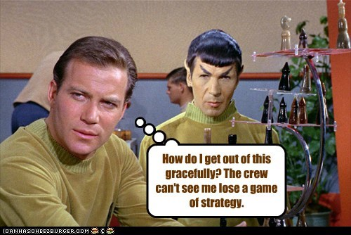 Captain Kirk,game,Spock,losing,Leonard Nimoy,chess,Star Trek,William Shatner,Shatnerday