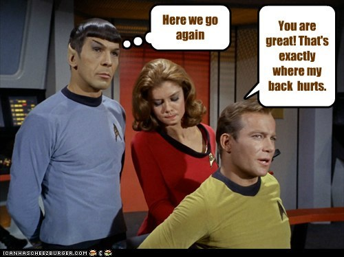 Captain Kirk,Spock,Here We Go Again,Leonard Nimoy,Star Trek,William Shatner,Shatnerday,massaging