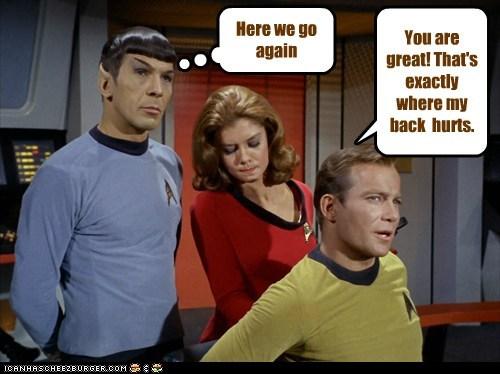 Captain Kirk Spock Here We Go Again Leonard Nimoy Star Trek William Shatner Shatnerday massaging - 6661547776