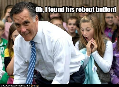 Mitt Romney,reboot,button,found,bending over,robot