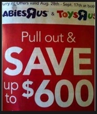 coupon,toys r us,advertisment,pull out