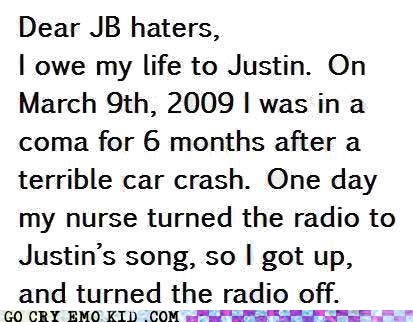 justin bieber bad music radio coma saved life