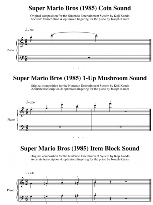 mario,Super Mario bros,sheet music,sound effects,pdf,piano