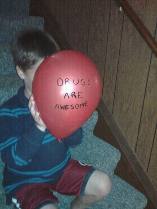 drugs drugs are awesome balloon child - 6662578688