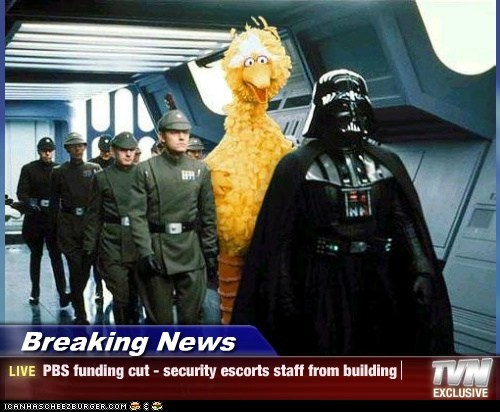 Breaking News - PBS funding cut - security escorts staff from building