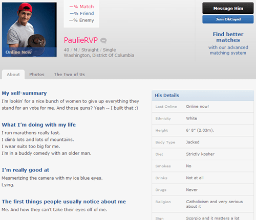 politics paul ryan dating profile ok cupid - 6662679808