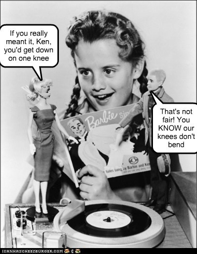 Barbie,ken,record player,Music,proposal,knees
